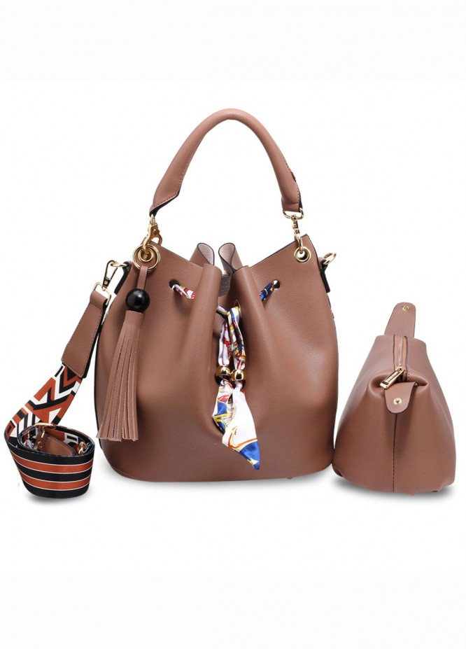 Anna Grace London Faux Leather Bucket Bags  for Women  Nude with Smooth Texture