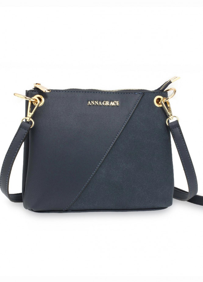 Anna Grace London Faux Leather Crossbody  Bags  for Women  Navy with Smooth Texture