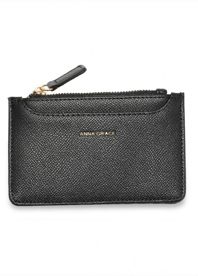 Anna Grace London Faux Leather Pouch   for Women  Black with Rugged Texture