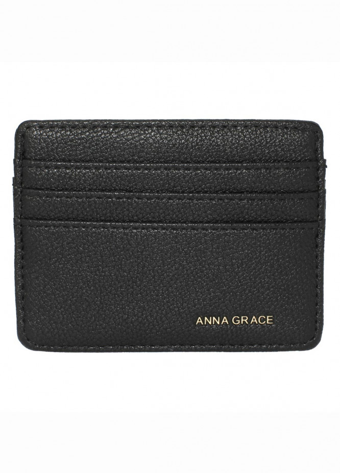 Anna Grace London Faux Leather Wallet   for Women  Black with Rugged Texture