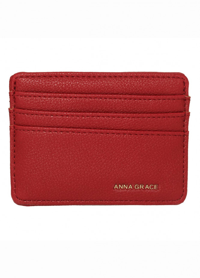 Anna Grace London Faux Leather Wallet   for Women  Red with Rugged Texture
