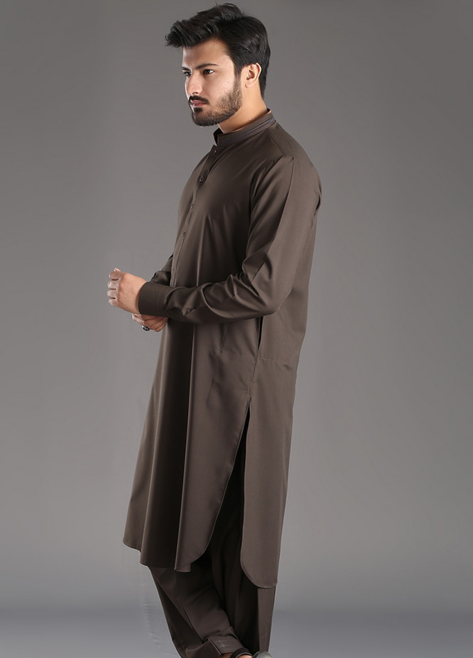 Aizaz Zafar Wash N Wear Plain Texture Men Shalwar Kameez - Brown AZ18M 025