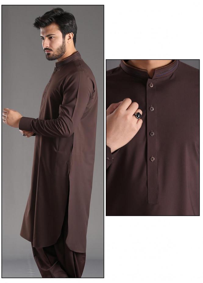 Aizaz Zafar Wash N Wear Plain Texture Shalwar Kameez for Men - Maroon AZ18M 026