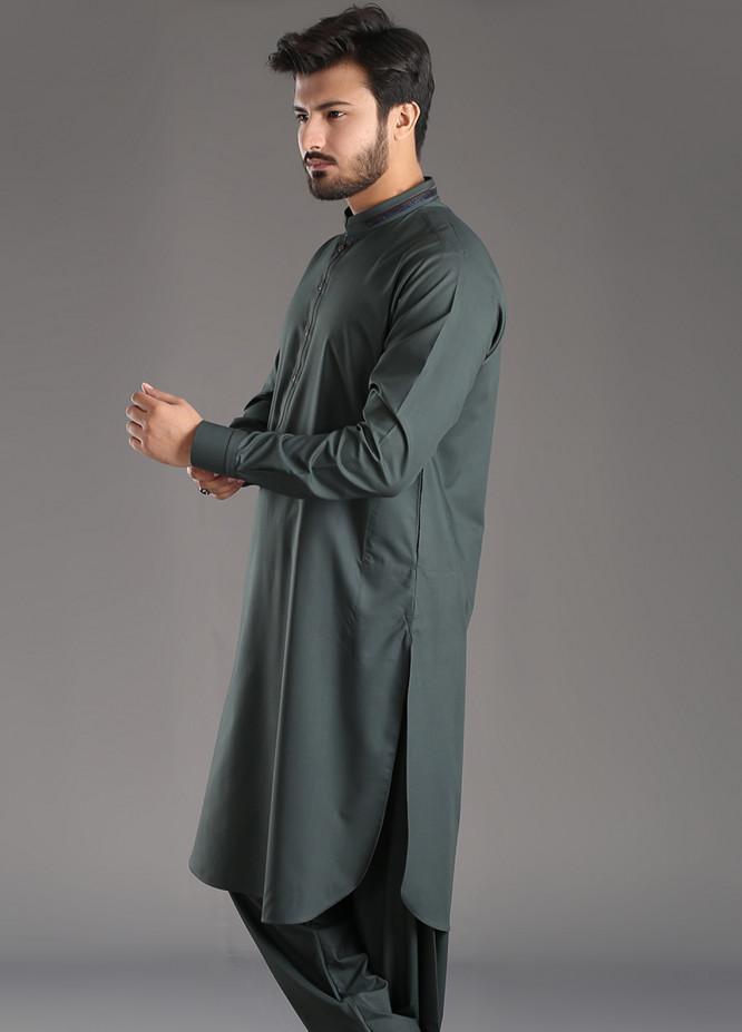 Aizaz Zafar Wash N Wear Plain Texture Men Shalwar Kameez - Green AZ18M 027