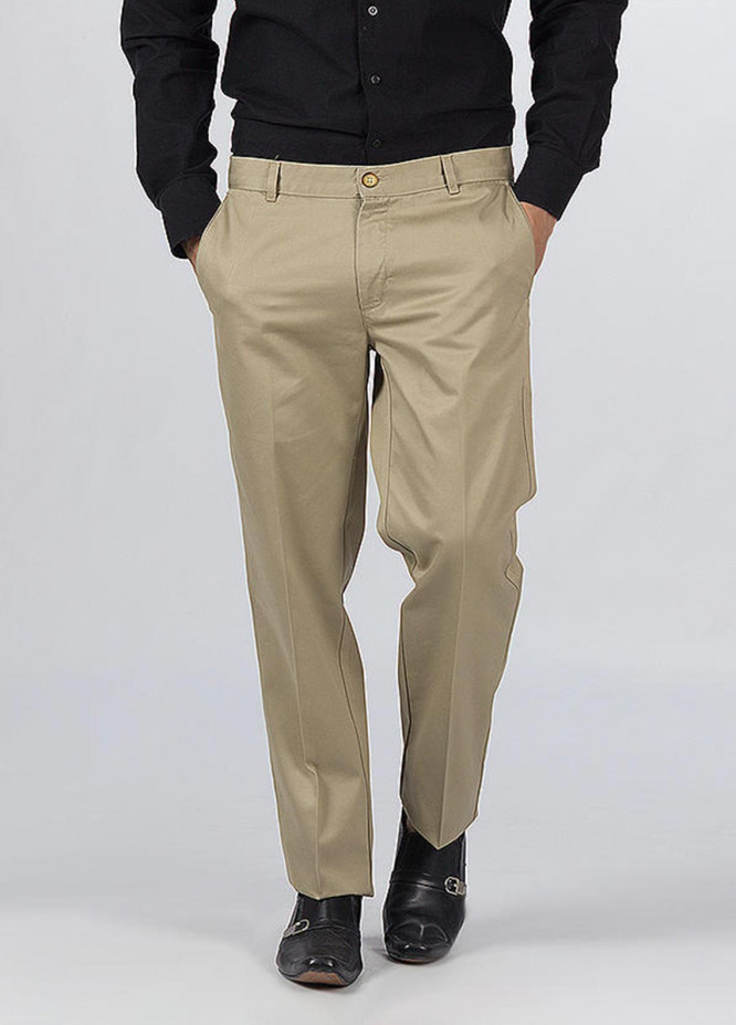 Bien Habille Cotton Ironeezee Men Trouser -   Comfort Fit Pale Khaki
