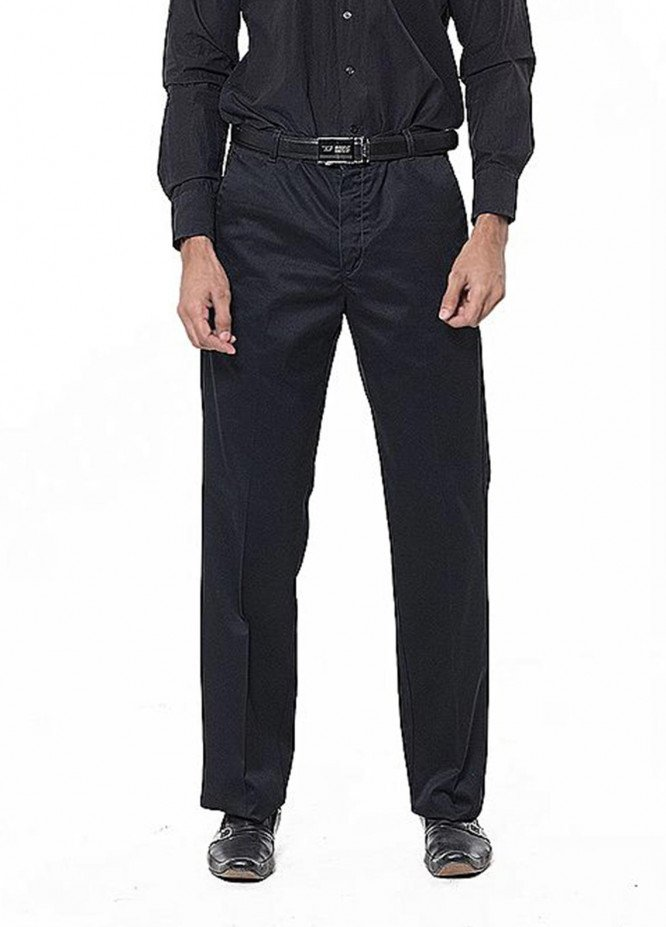 Bien Habille Cotton Ironeezee Men Trouser -   Comfort Fit Space Black