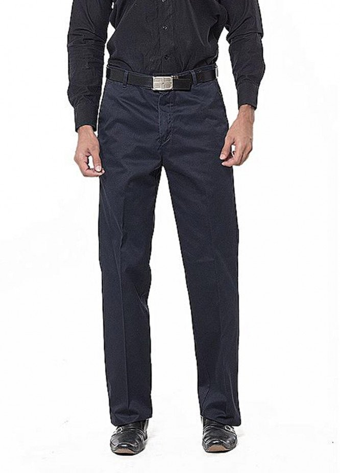 Bien Habille Cotton Ironeezee Trouser for Men -   Comfort Fit Twilight Blue