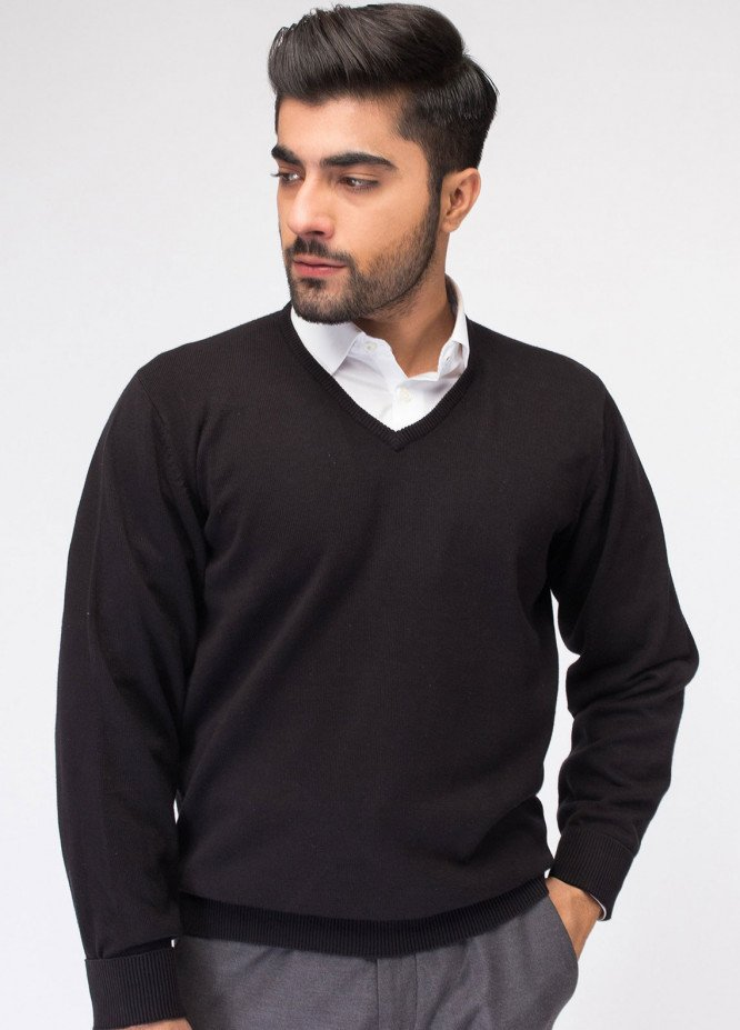 Brumano Cotton Full Sleeves V-Neck Sweaters for Men - Black FS-971