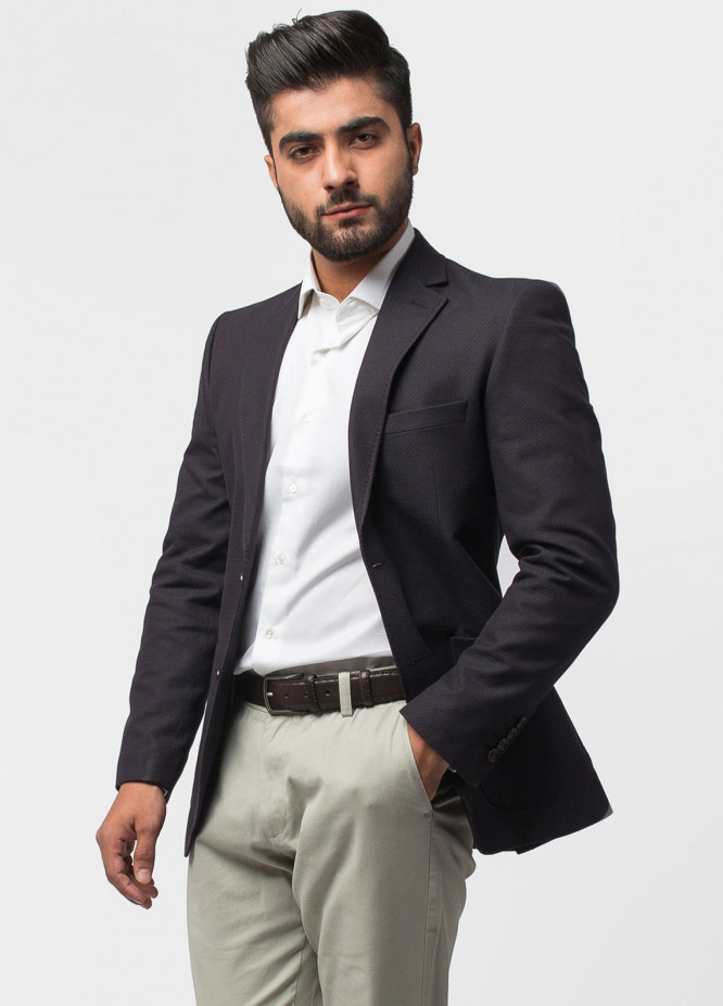 Brumano Cotton Casual Blazer for Men - Black Patterned Bordo