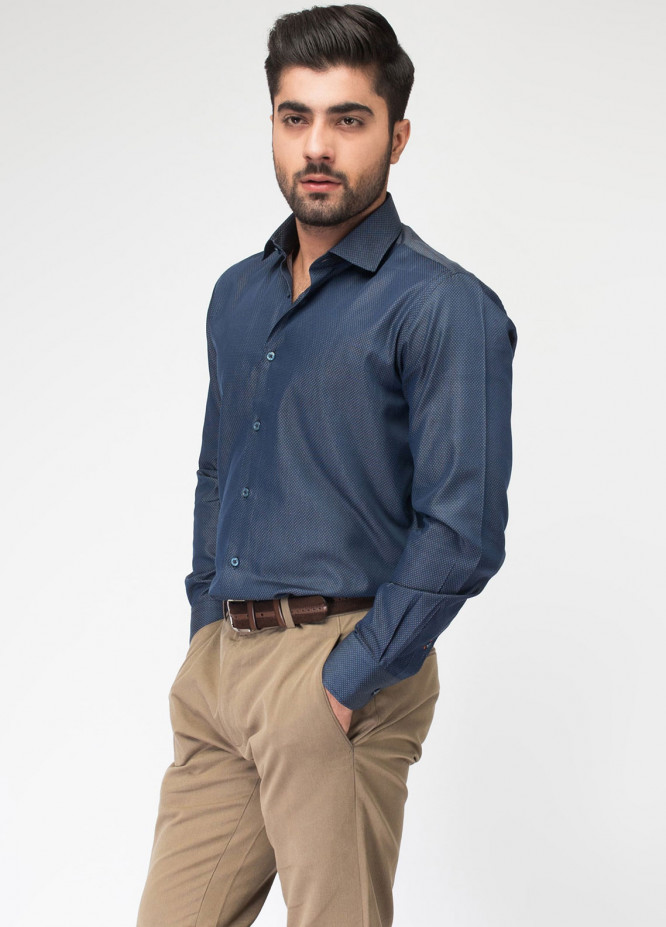 Brumano Cotton Formal Shirts for Men - Blue BRM-558