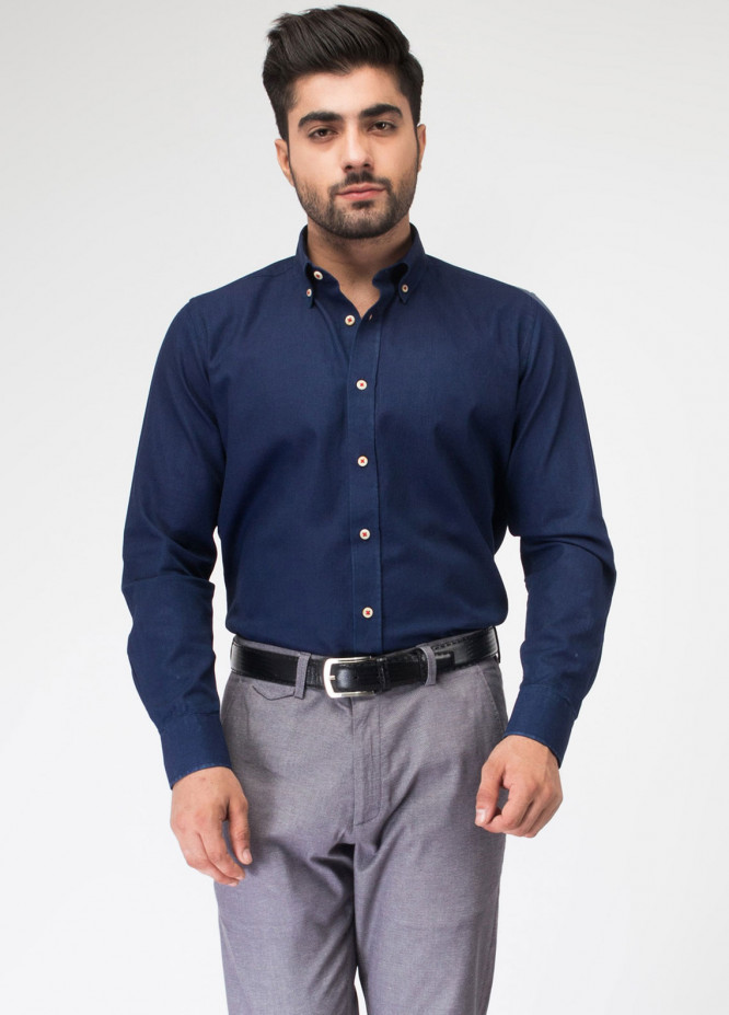 Brumano Cotton Formal Shirts for Men - Indigo BRM-771
