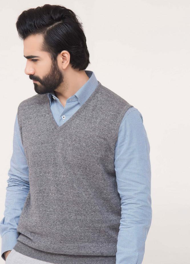 Brumano Cotton Sleeveless V-Neck Sweaters for Men - Grey SL-091