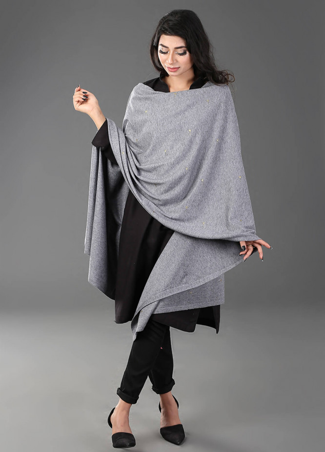 Change  Acrylic Embroidered Shawl RD6-Grey - Winter Collection