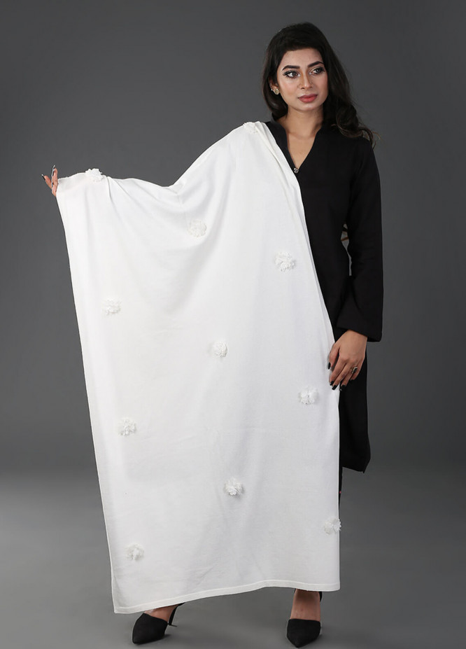 Change  Acrylic Embroidered Shawl RD8-Off/White - Winter Collection