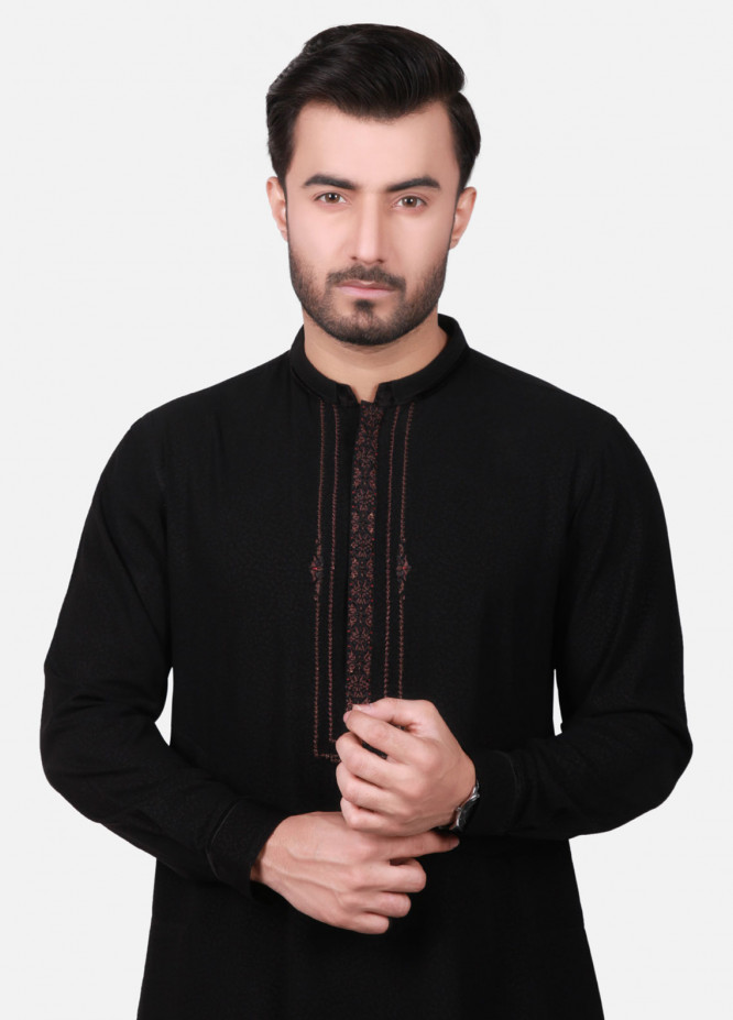 Edenrobe Cotton Formal Kameez Shalwar for Men - Black EMTKC18-010