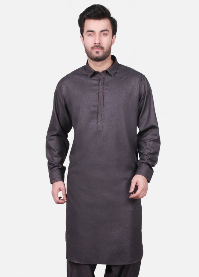 Edenrobe Cotton Formal Men Kameez Shalwar - Grey EMTKS18W-40715