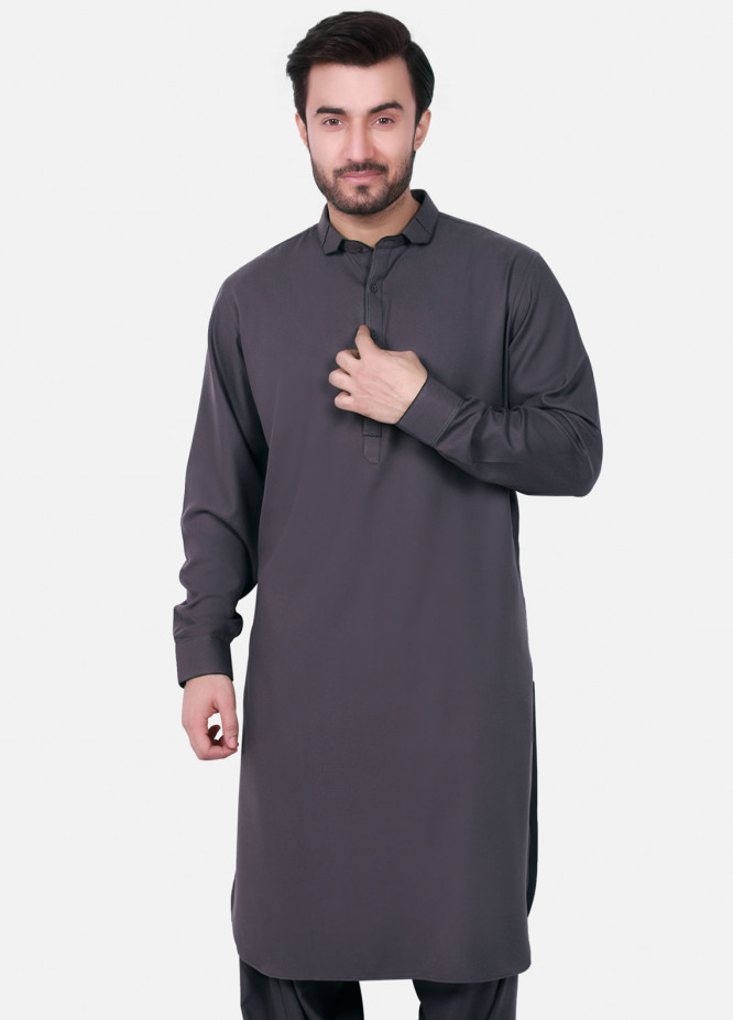 Edenrobe Cotton Formal Men Kameez Shalwar - Grey EMTKS18W-40720