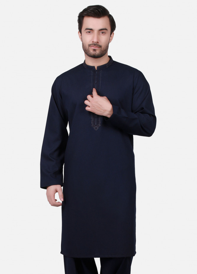 Edenrobe Cotton Formal Kameez Shalwar for Men - Navy Blue EMTKS19S-40711