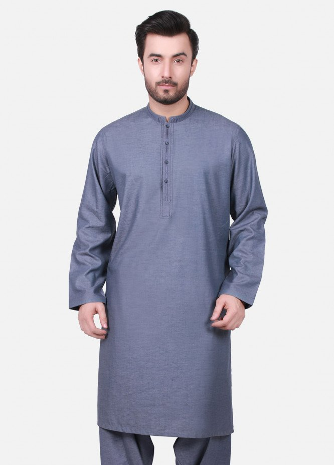 Edenrobe Cotton Formal Men Kameez Shalwar - Blue EMTKS19S-40716