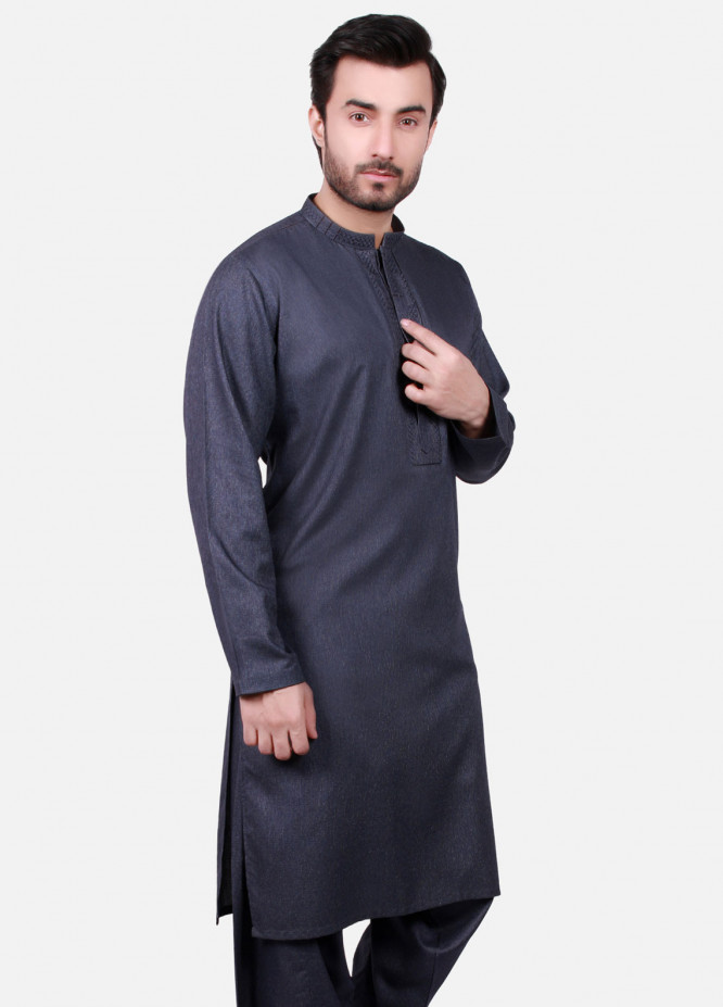 Edenrobe Cotton Formal Kameez Shalwar for Men - Grey EMTKS19S-40717