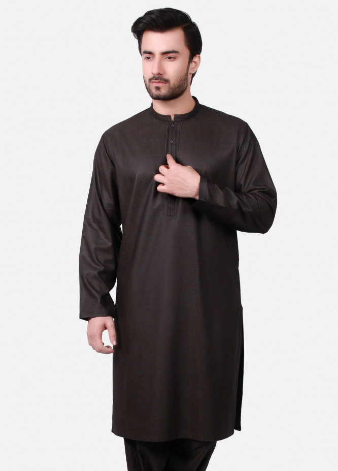 Edenrobe Cotton Formal Men Kameez Shalwar - Brown EMTKS19S-40719
