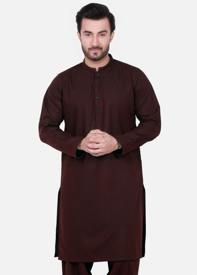 Edenrobe Cotton Formal Kameez Shalwar for Men - Maroon EMTSW18W-9715