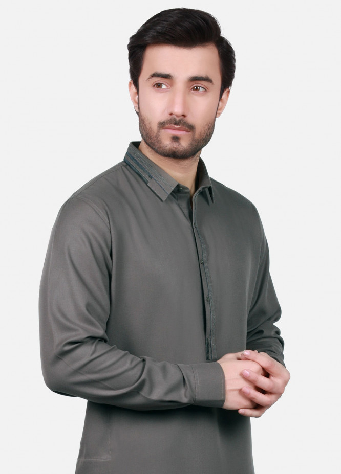 Edenrobe Cotton Formal Kameez Shalwar for Men - Grey EMTSW18W-9733
