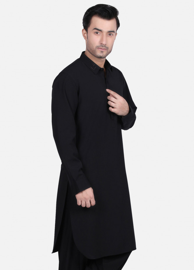 Edenrobe Cotton Formal Men Kameez Shalwar - Black EMTSW19S-9684