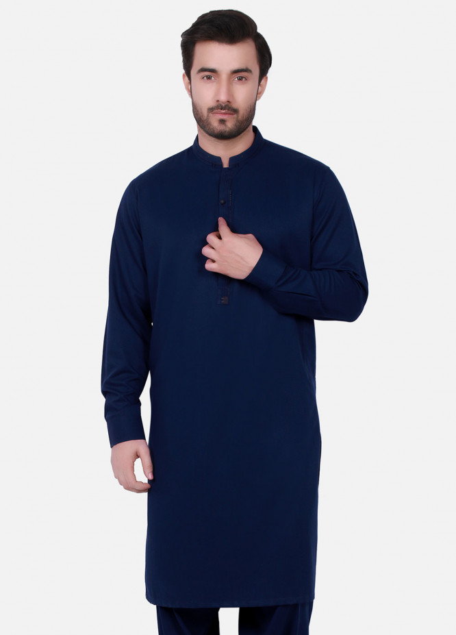 Edenrobe Cotton Formal Kameez Shalwar for Men - Blue EMTSW19S-9709