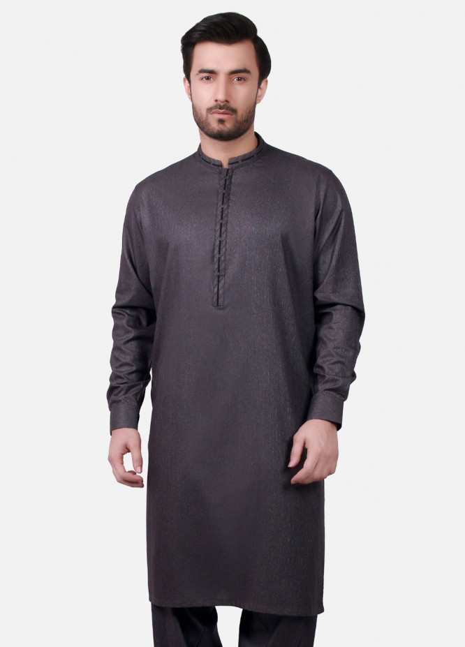 Edenrobe Cotton Formal Men Kameez Shalwar - Grey EMTSW19S-9717