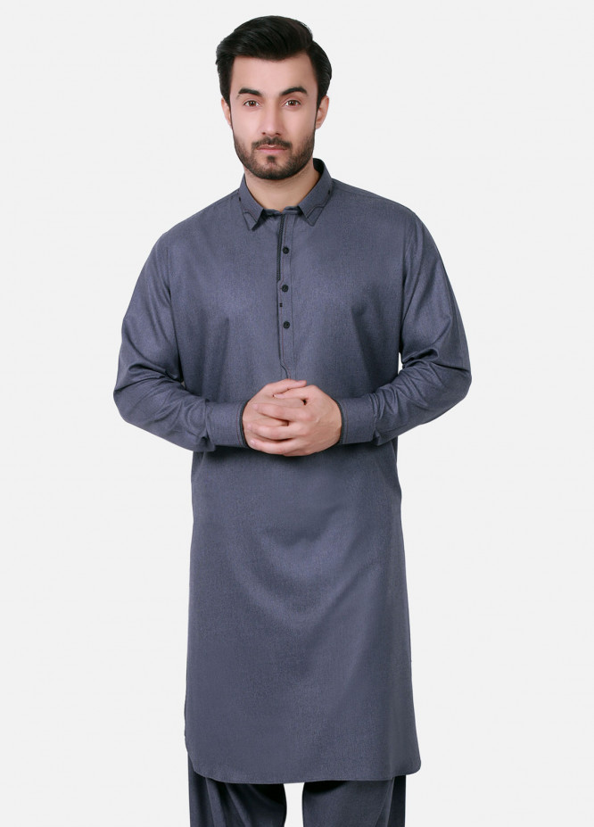 Edenrobe Cotton Formal Men Kameez Shalwar - Blue EMTSW19S-9718
