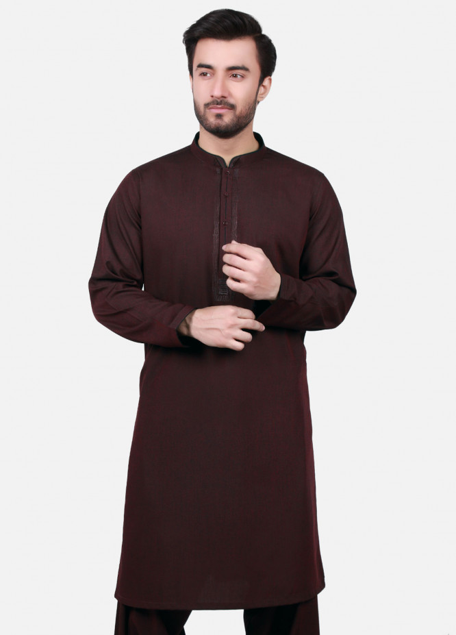 Edenrobe Cotton Formal Kameez Shalwar for Men - Brown EMTSW19S-9739