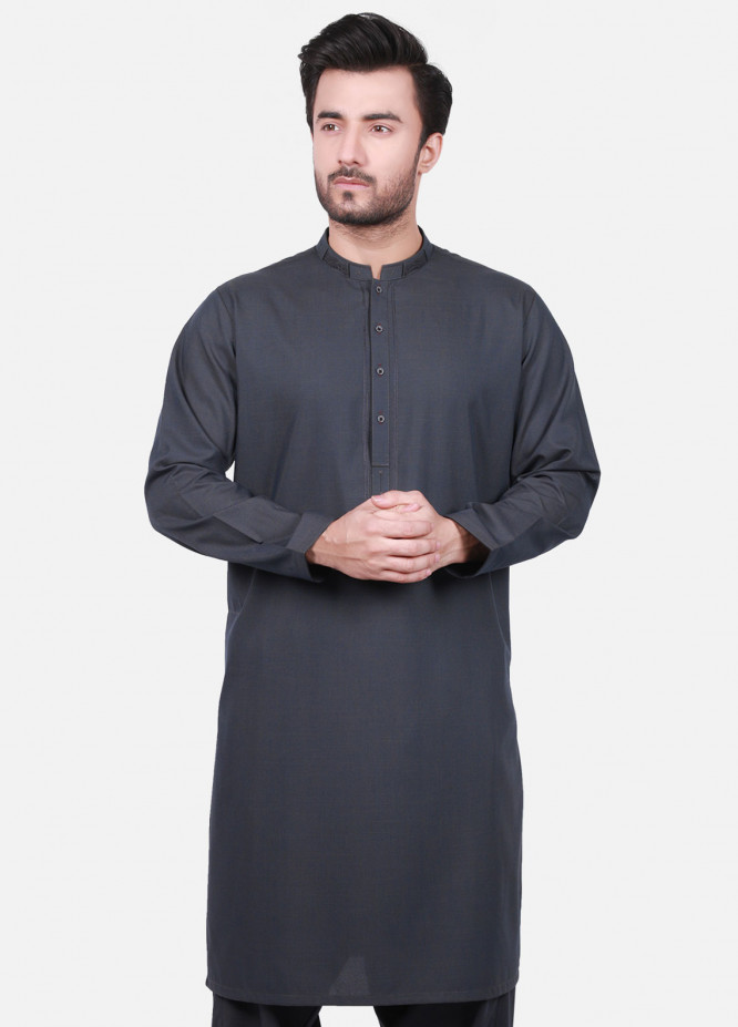 Edenrobe Cotton Formal Men Kameez Shalwar - Grey EMTSW19S-9741