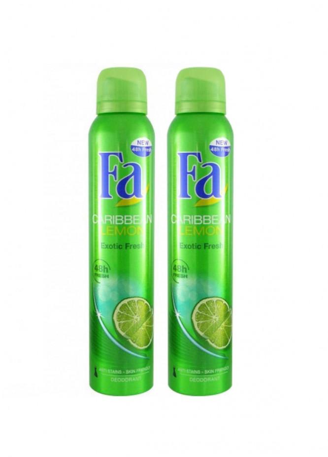 FA Fa Caribbean Lemon  Pack of 2 women's body spray