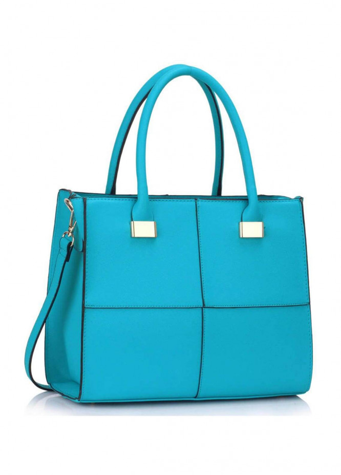 Fashion Only Faux Leather Tote  Bags for Woman - Teal