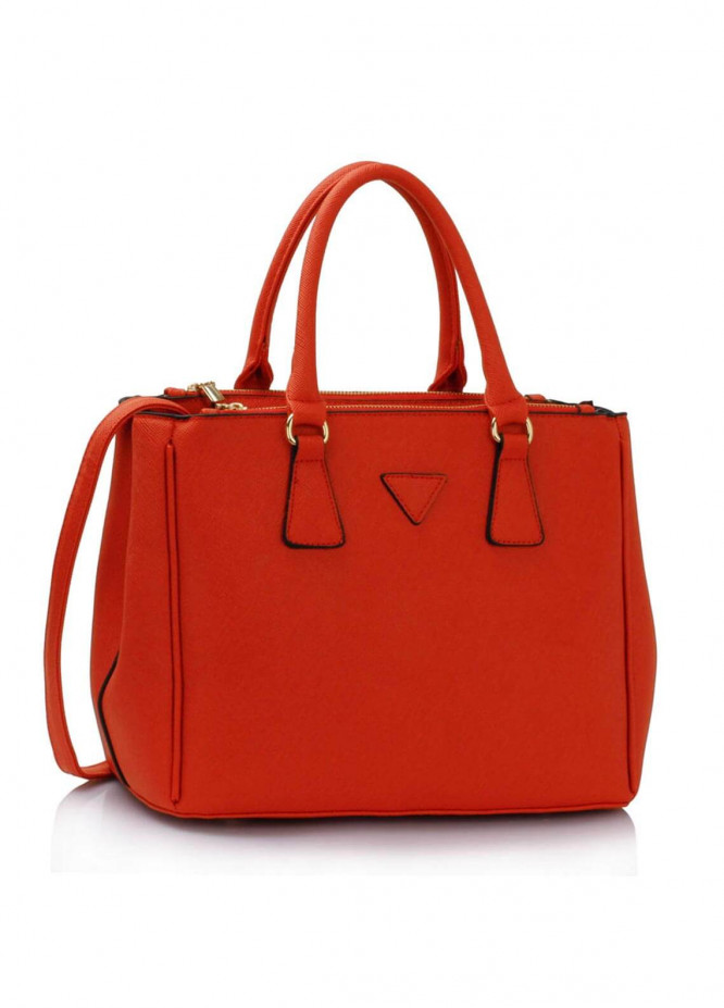 Fashion Only Faux Leather Tote  Bags for Woman - Orange