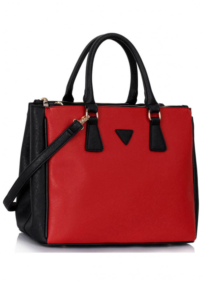 Fashion Only Faux Leather Tote  Bags for Woman - Red