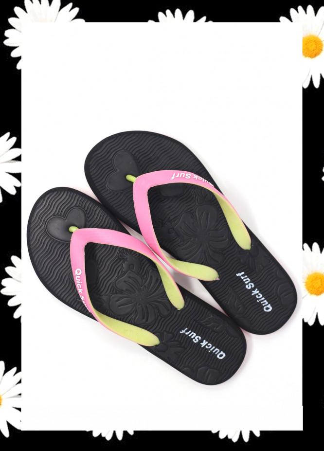Black Rubber Flip Flops for Ladies FF18W 01