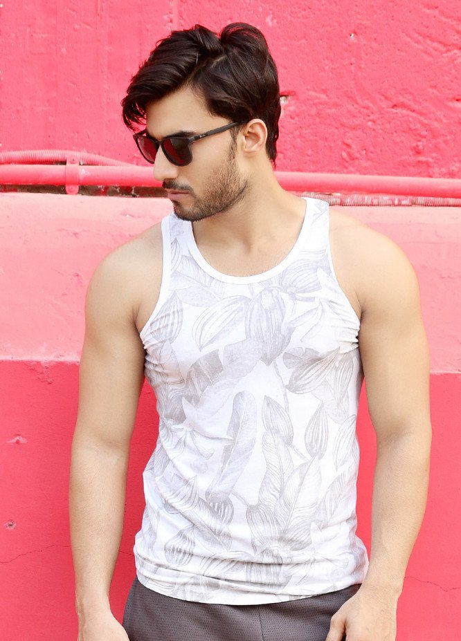 Furor  Printed Tank Tops for Men - White FRM18TT 003