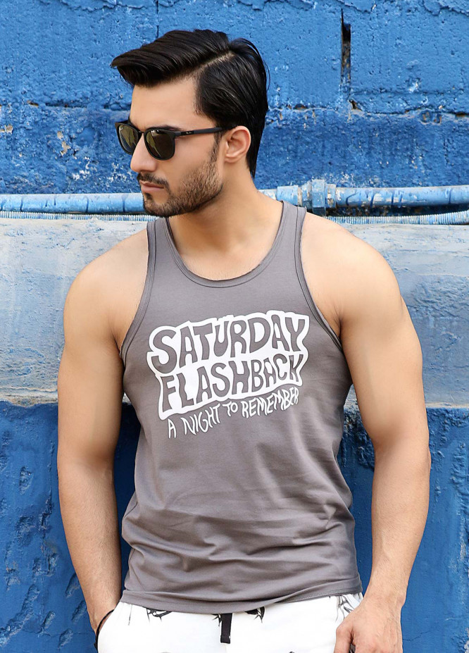 Furor  Printed Men Tank Tops - Grey FRM18TT 005