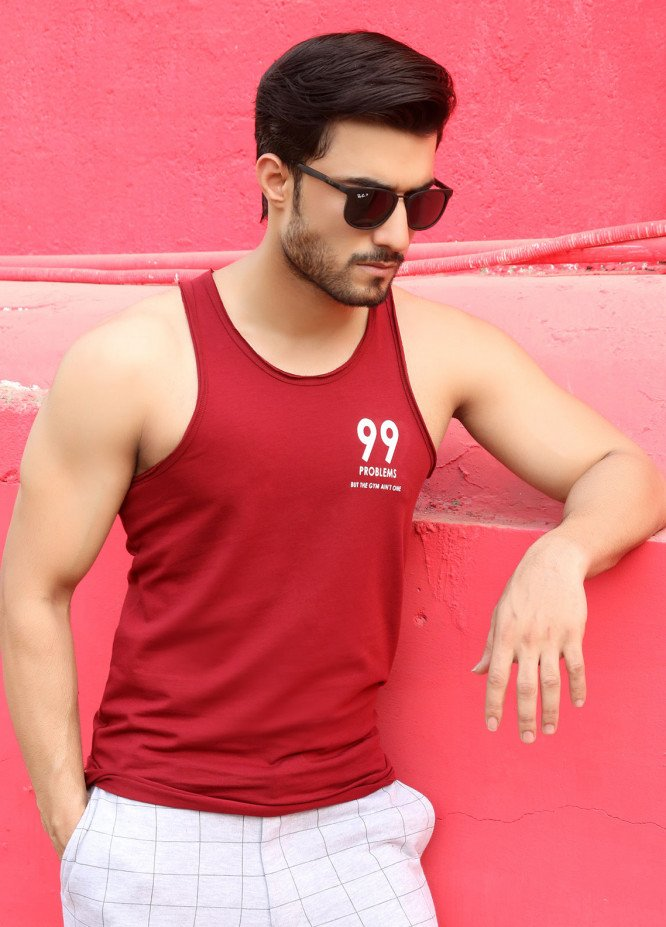 Furor  Printed Tank Tops for Men - Maroon FRM18TT 009