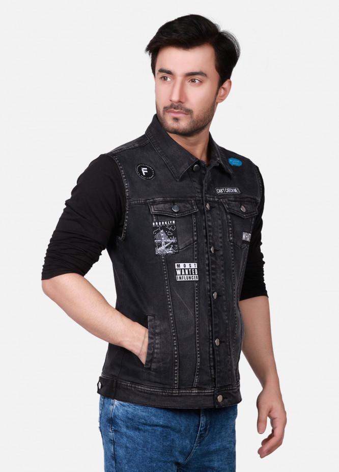 Furor Denim Casual Men Jackets - Black FMTJD18-013