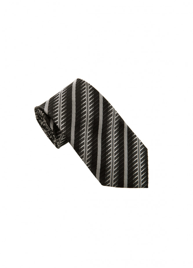 The Gentlemen's Club Black Striped Silk Men's Ties