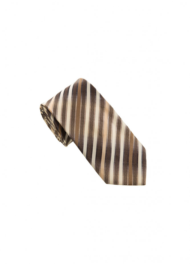 The Gentlemen's Club Brown Striped Silk Tie for Men