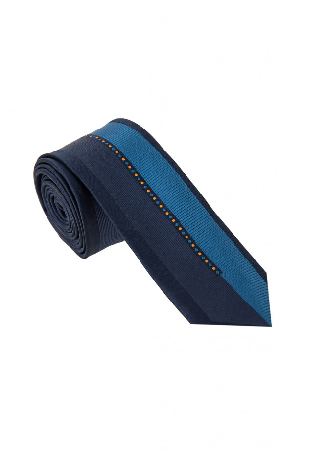 The Gentlemen's Club Blue Striped Silk Tie for Men