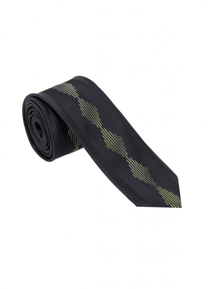 The Gentlemen's Club Golden Printed Silk Tie for Men