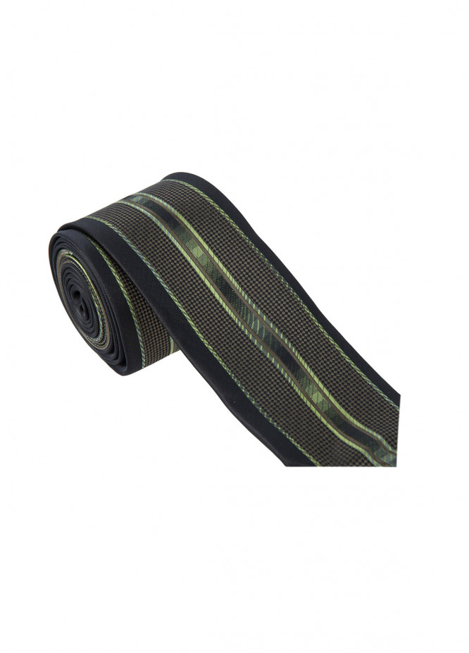 The Gentlemen's Club Green Printed Silk Tie for Men