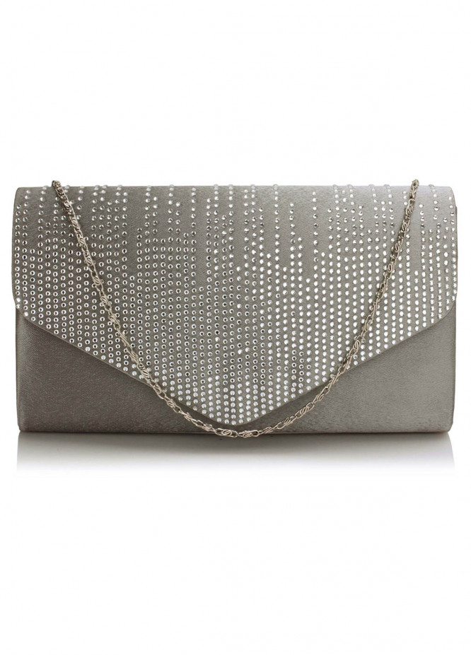 Leesun London  Faux Leather Clutch Bags  for Women  Grey with Diamante Design