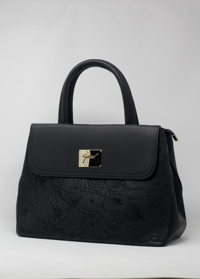 Susen PU Leather Satchels Handbags for Women - Black with Flower Embroidery