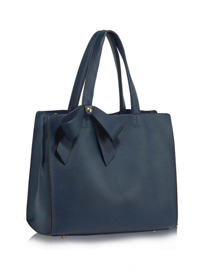 Leesun London  Faux Leather Shoulder  Bags for Woman - Navy Blue